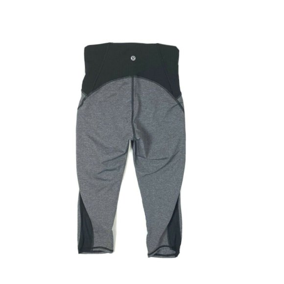 Lululemon 4 Gray Black Gear Up Leggings Crop Mesh